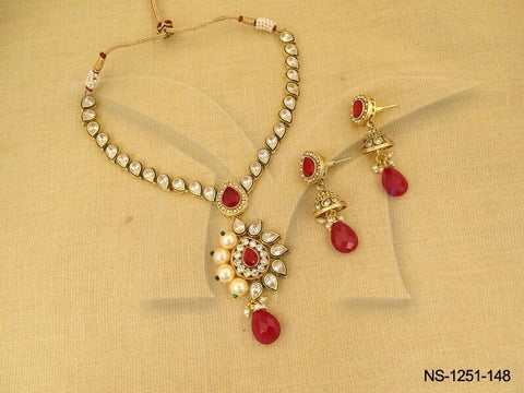 MOTI PAAN VARIANT SIDE INDIAN BRIDAL NECKLACES SET - Mangalam