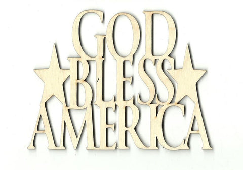 God Bless America - Laser Cut Wood Shape 4Th1 Craft Supply