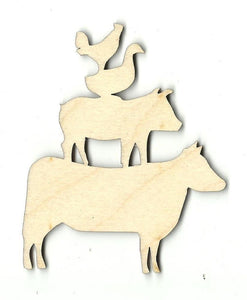 Stacked Farm Animals - Laser Cut Wood Shape Anml2 Craft Supply