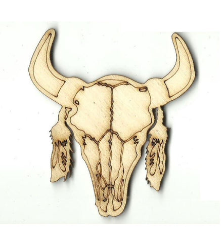 Steer Skull - Laser Cut Wood Shape Cow22 Craft Supply