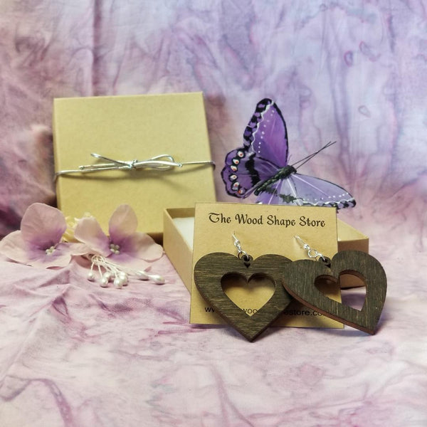 Wood Heart Dangle Earrings - Laser Cut Sterling Silver Jewelry Ear-23