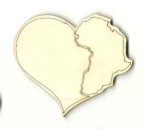 Africa In A Heart - Laser Cut Wood Shape Wld58 Craft Supply