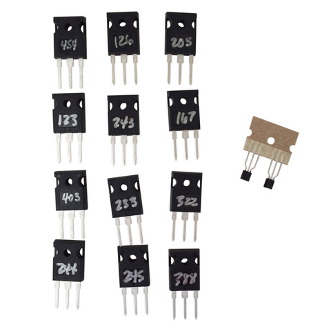 Please note: the numbers on the MOSFETs are ID numbers only, and are not related to their measurements nor their matching