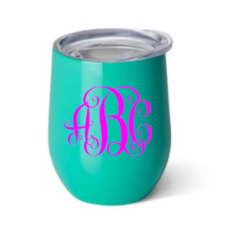 Swig Monogrammed 12 oz Stemless Wine Cup- Turquoise