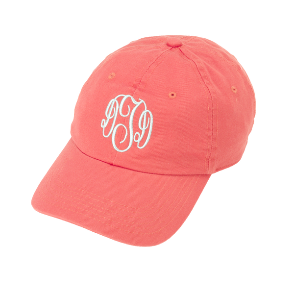 * Coral Monogrammed Ball Cap