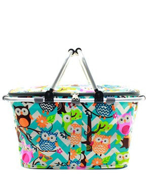 Insulated Picnic Basket Chevron Owl - 2 Color Choices