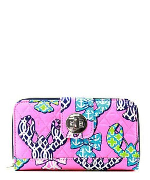 Quilted Wallet Lobster Print