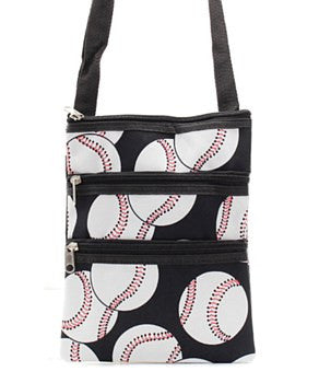 Baseball Print Messenger Bag - 3 Color Choices