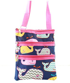 Whale Print Messenger Bag - 2 Color Choices