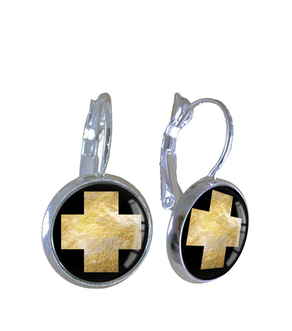Gold leaf cross - Earrings - gonepottynz