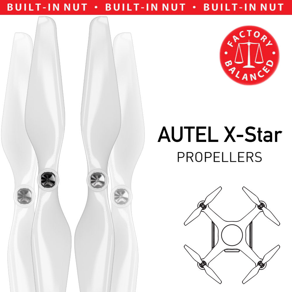 AUTEL X-Star Built-in Nut Upgrade Propellers - MR AU 9.4x5 Set x4 White - Master Airscrew - Multi Rotor/ Model Airplane Propellers