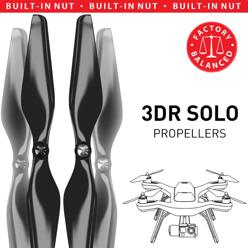 3DR Solo Built-in Nut Upgrade Propellers - MR SL 10x4.5 Set x4 Black - Master Airscrew - Multi Rotor/ Model Airplane Propellers