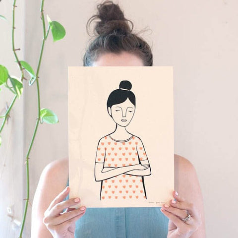 Girl with a Topknot in Tulip Print Shirt, 8x10 Print - Jordan Grace Owens - Gather Goods Co - Raleigh, NC