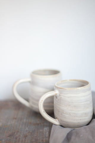 Sand & White Marbled Ceramic Mug