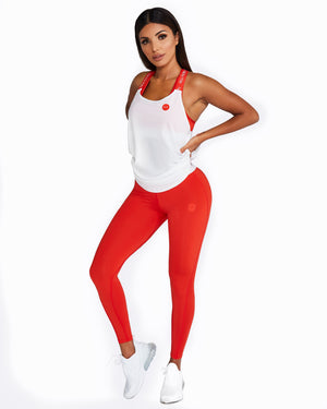 White mesh singlet with red shoulder straps
