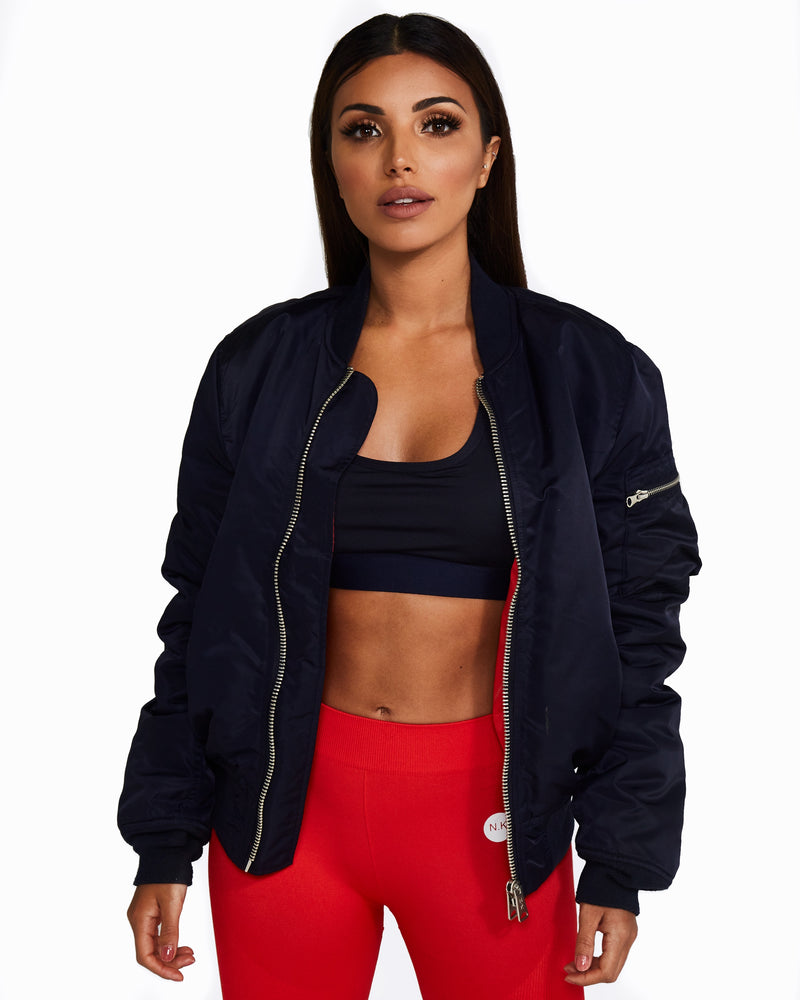 Reversible Bomber Jacket: Navy + Red