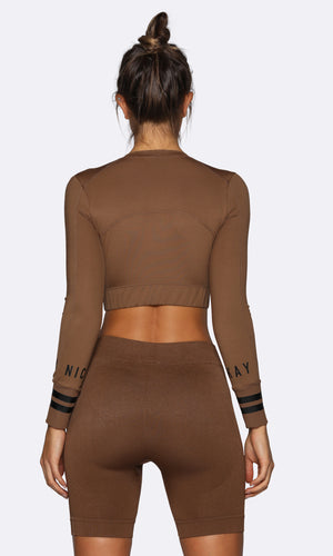 Long Sleeve Crop - Brown
