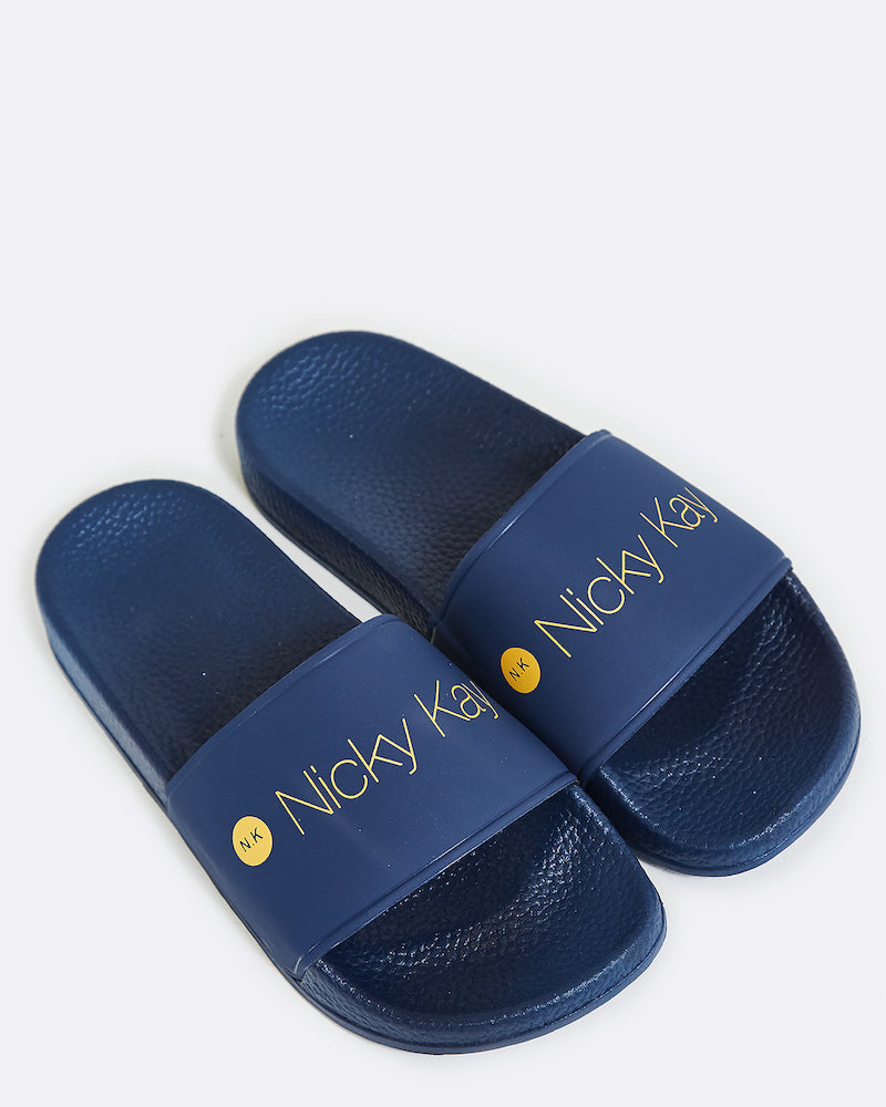 NAVY SLIDES WITH YELLOW NICKY KAY LOGO