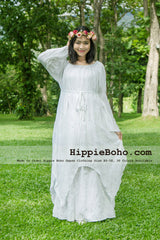 No.041 - Size XS-7X Hippie Boho Clothing Gypsy Long Sleeve Bell Sleeve White Plus Size Costume Full Length Maxi Dress