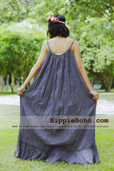 No.162 - Size XS-7X Gray Bohemian Strap Cotton Maxi Long Dress Handmade Women's Small & Plus Size Clothing 30 Colors Available