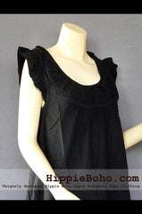 No.530 - Size M,L,XL Black Silk Mixed Linen Funky Tiered Casual Sundress Hippie Boho Tunic Dress