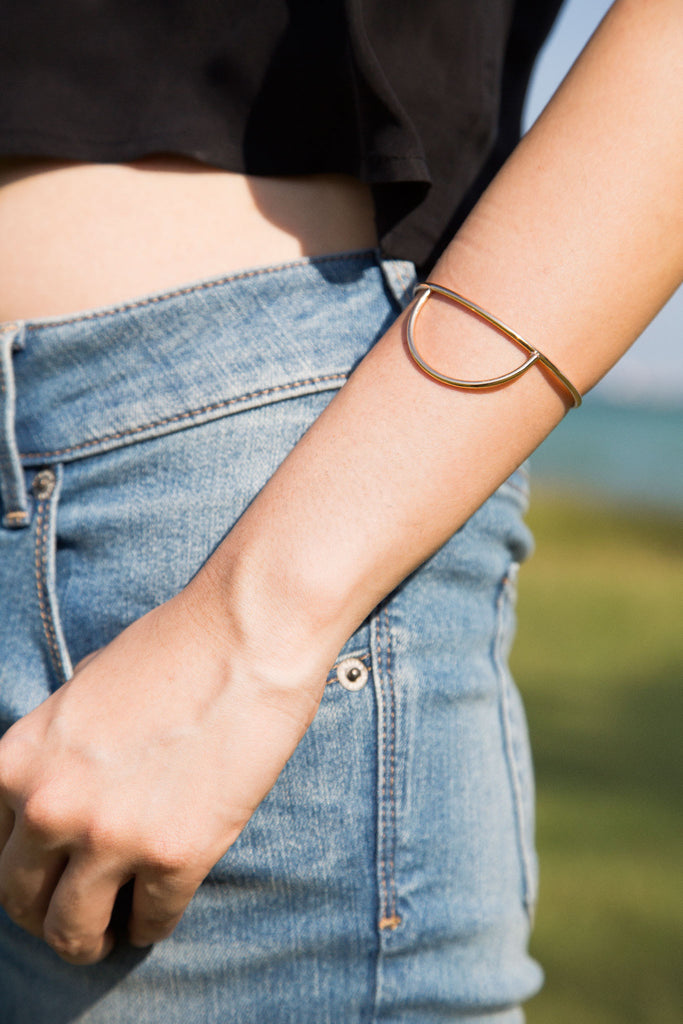 Luna Cuff. An elegant design that speaks through simplicity. Wear them alone or make a playful composition with other Belmto pieces.