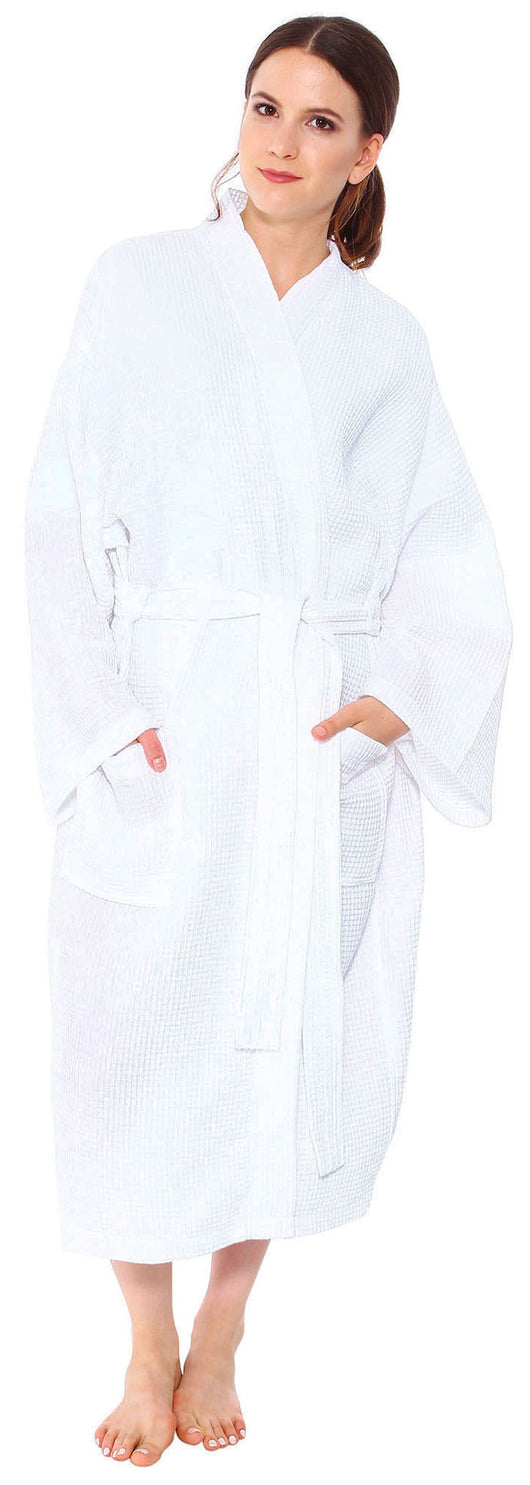 Simplicity White Waffle Spa Robe Unisex Cotton Robe