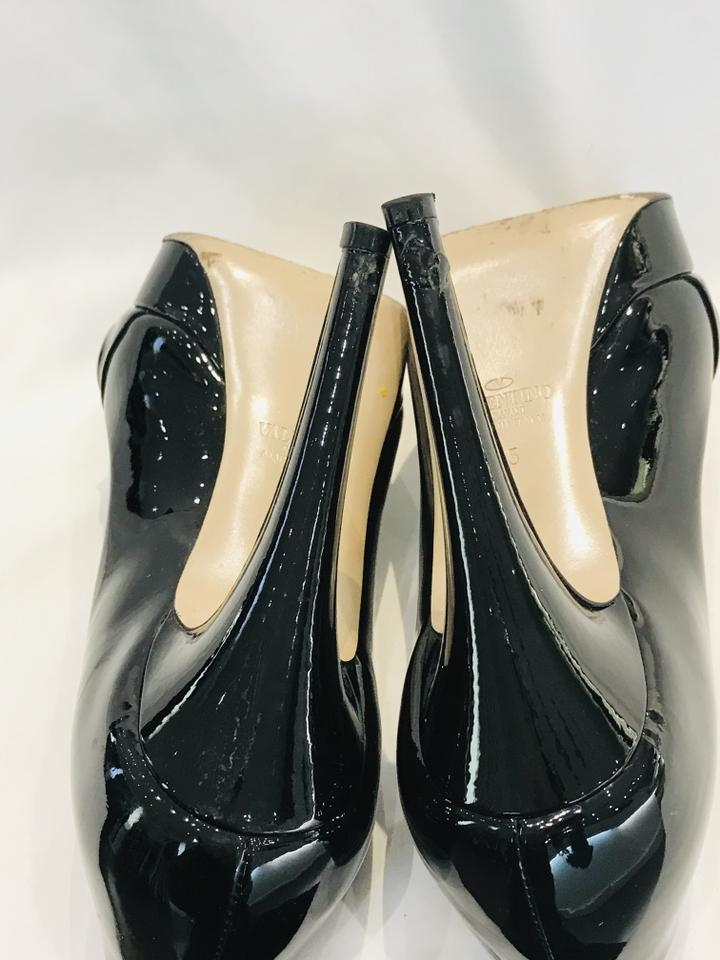 Valentino Black Bow Peep-toe Patent Leather Pumps Sz 35