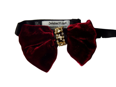 red velvet burgundy fat bowtie with gold diamond chain
