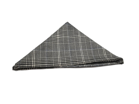 blue line Black and White houndstooth pocketsquare