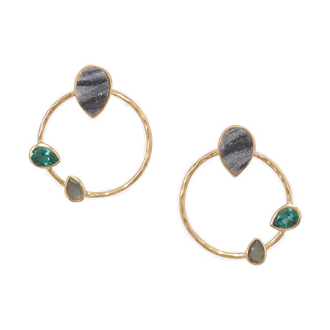 14 Karat Gold Plated Brass Multi Stone Fashion Earrings - Cece & Me - Home and Gifts