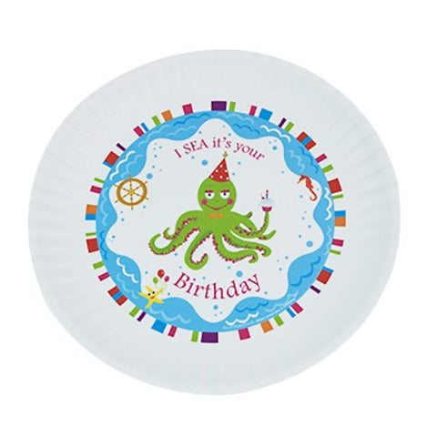 Image of Fun Birthday Melamine Plates ~ I SEA it's your Birthday - Cece & Me - Home and Gifts