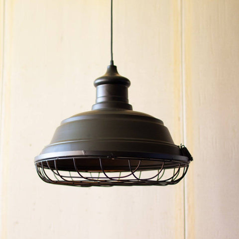 Image of Black Metal Caged Pendant Light - Cece & Me - Home and Gifts