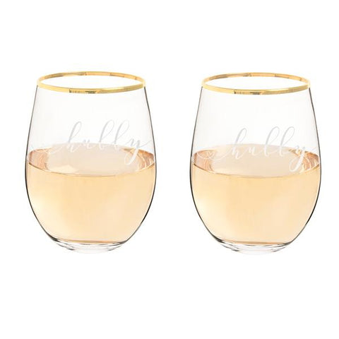 Hubby & Hubby 19.25 oz. Gold Rim Stemless Wine Glasses - Cece & Me - Home and Gifts