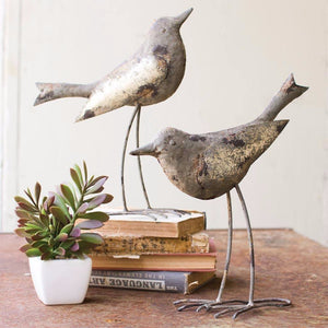 Metal Birds ~ Rustic Grey (Set of 2) - Cece & Me - Home and Gifts