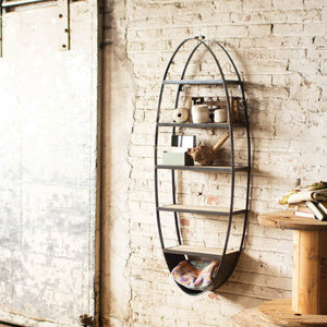 Metal & Wood Oval Wall Shelf