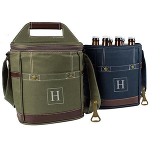 Personalized Craft Beer 6 Pack Bottle Cooler ~ Navy
