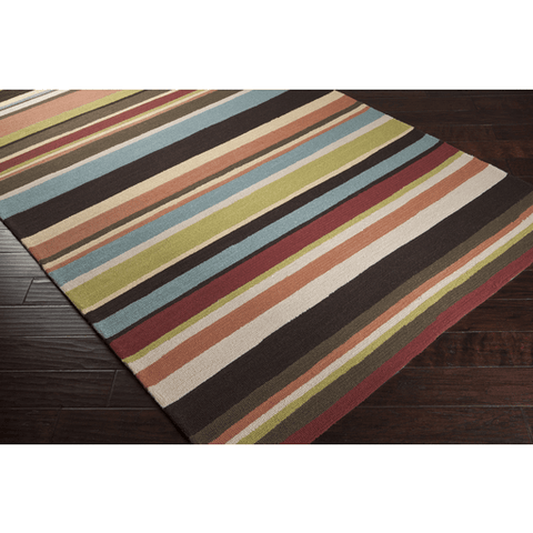Raffon Rug ~ Garnet/Coral/Denim/Green - Cece & Me - Home and Gifts