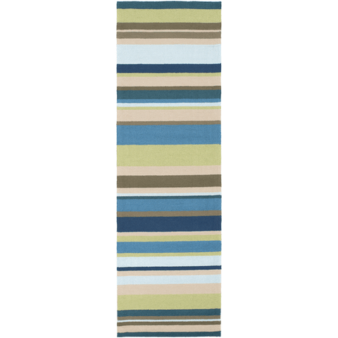 Raffon Rug ~ Lime/Brown/Taupe/Blue - Cece & Me - Home and Gifts