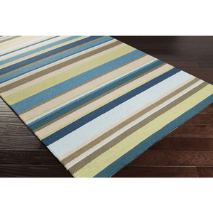 Raffon Rug ~ Lime/Brown/Taupe/Blue
