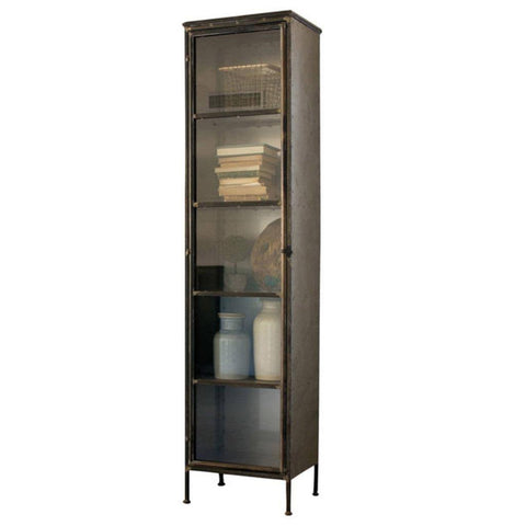 Tall Iron and Glass Apothecary Cabinet - Cece & Me - Home and Gifts