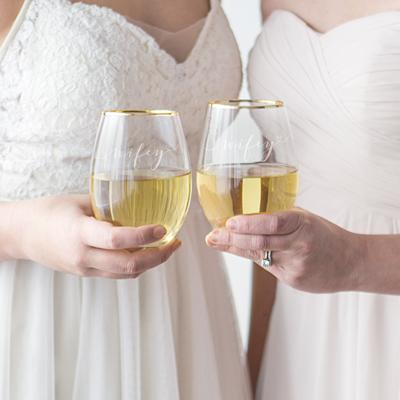 Wifey & Wifey 19.25 oz. Gold Rim Stemless Wine Glasses - Cece & Me - Home and Gifts