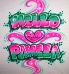 Graffiti Style Airbrushed Love Design with Two Names, Heart, & Color Swirls
