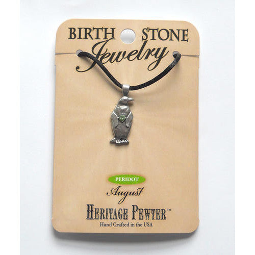 August Pewter Penguin Pendant (Peridot)
