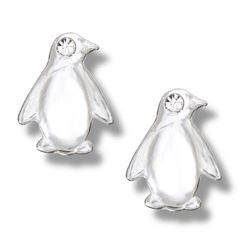 Sterling Silver Crystal Penguin Stud Earrings ( 1/2 inch)