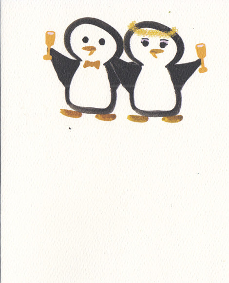 "Bride & Groom Toasting Card (4"" x 5"")"
