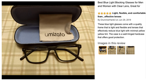 blue light filtering glasses amazon umizato 5 star review lightest computer glasses