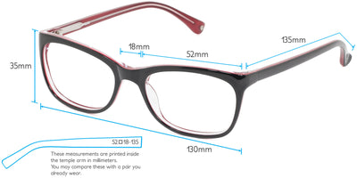 Charlotte Computer Gaming Glasses Frame Measurements