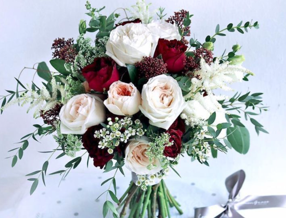 white and red roses