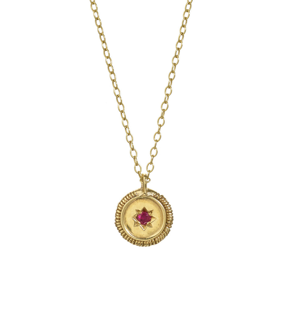 Antique Star Disc Ruby Necklace